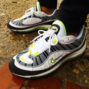 detailed pictures 0652d a4e3a Nike-Air-Max-98-Black-White-Lime-Fluorescent-